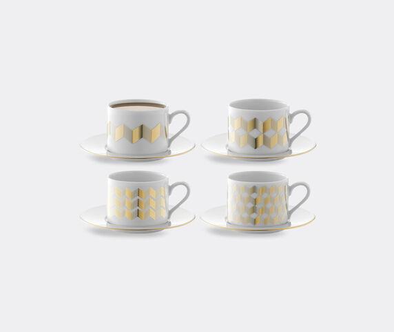 LSA International 'Chevron' teacup and saucer, set of four
