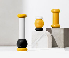 Alessi Salt, Pepper And Spice Grinder In Beech-Wood, Yellow, Black And White. Alessi 100 Values Collection. 3