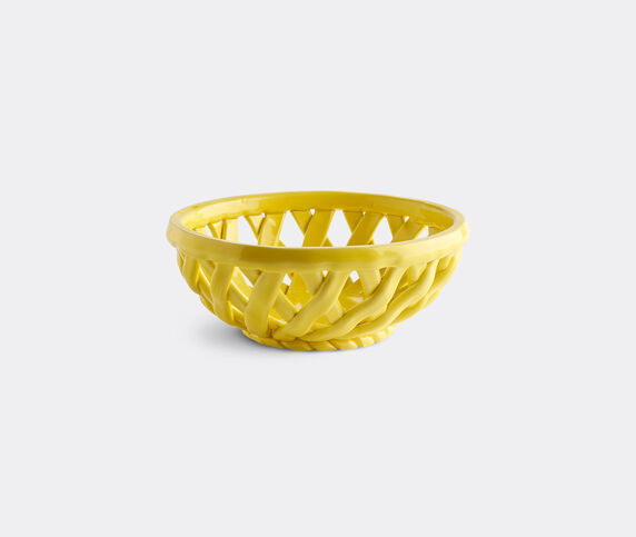 Octaevo 'Sicilia' ceramic basket, yellow, small