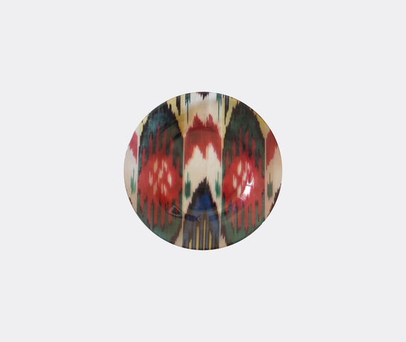 Les-Ottomans 'Ikat' glass plate, red, green and white