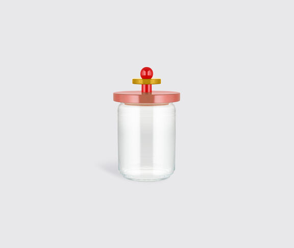 Alessi Glass Jar With Hermetic Lid In Beech-Wood, Pink, Red And Yellow. Alessi 100 Values Collection. 2