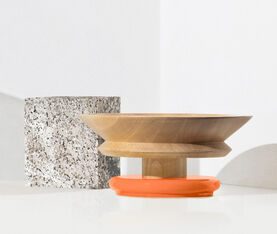Alessi Centrepiece In Limewood. Coloured Foot, Orange. Alessi 100 Values Collection. 3