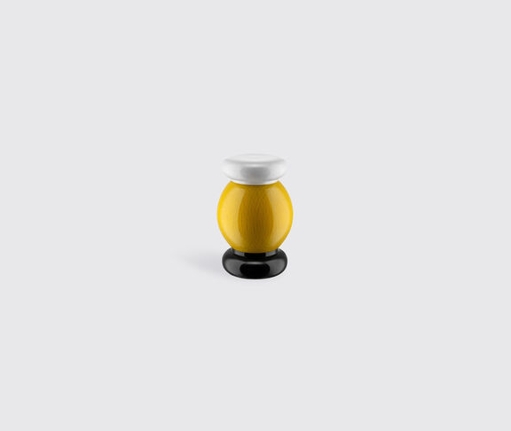 Alessi Salt, Pepper And Spice Grinder In Beech-Wood, Yellow, Black And White. Alessi 100 Values Collection. 2
