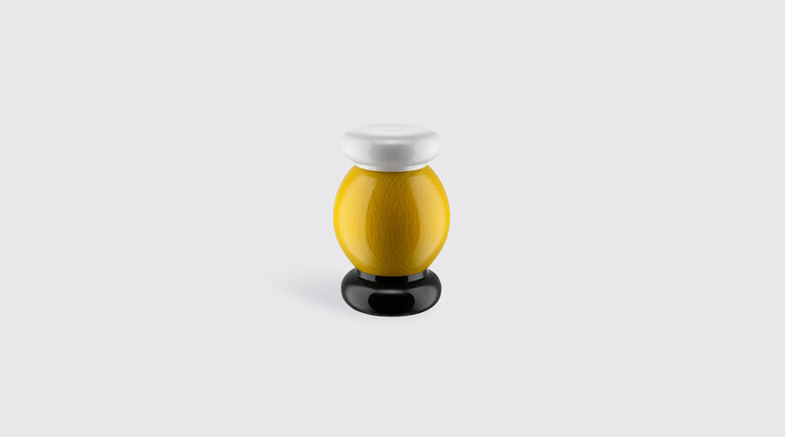 Alessi Salt, Pepper And Spice Grinder In Beech-Wood, Yellow, Black And White. Alessi 100 Values Collection. 1