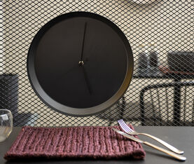 Atipico Dish Clock Iron Wall Clock - Ø Mm 335Xh.35 - Black Grey 5