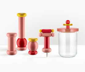 Alessi Salt, Pepper And Spice Grinder In Beech-Wood, Pink, Red And Yellow. Alessi 100 Values Collection. 2