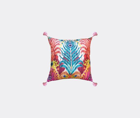 Les-Ottomans Silk cushion, peacock feather