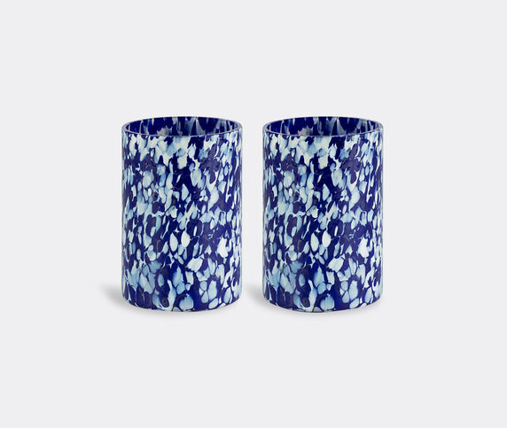 Stories of Italy 'Macchia su Macchia' blue and ivory glasses, set of two