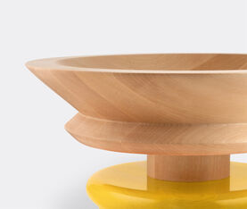 Alessi Centrepiece In Limewood. Coloured Foot, Yellow. Alessi 100 Values Collection. 2