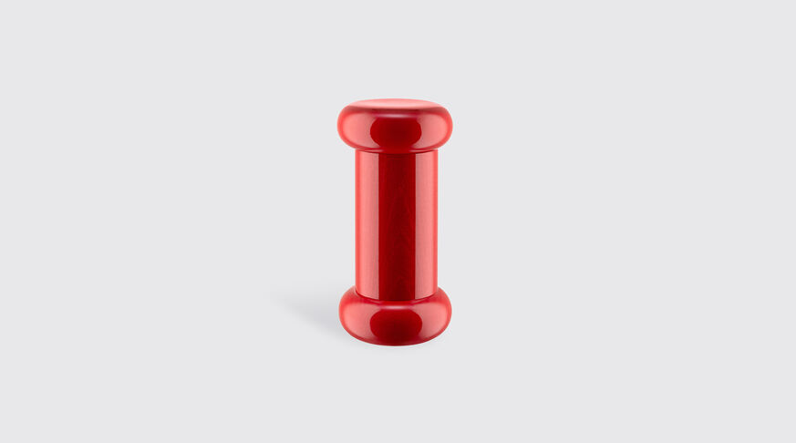 Alessi Salt, Pepper And Spice Grinder In Beech-Wood, Red. Alessi 100 Values Collection. 1