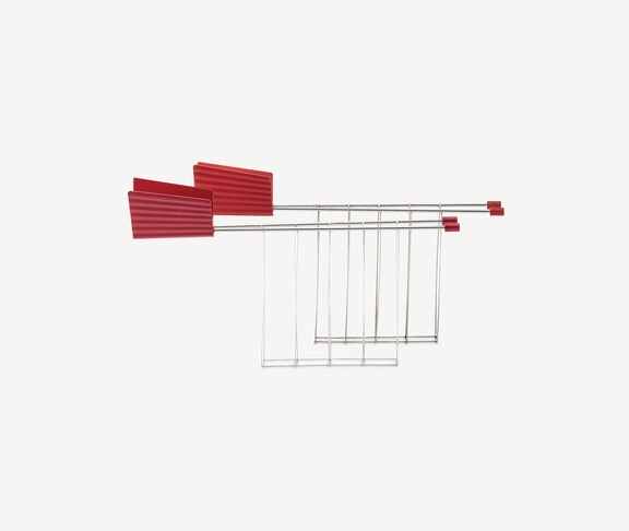 Alessi 'Plissé' toaster tongs, red