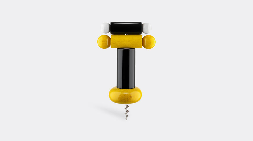 Alessi Corkscrew In Beech-Wood, Black, Yellow And White. Alessi 100 Values Collection. 1