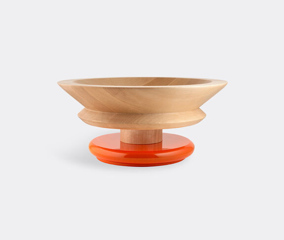 Alessi Centrepiece In Limewood. Coloured Foot, Orange. Alessi 100 Values Collection. 2