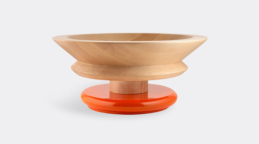 Alessi Centrepiece In Limewood. Coloured Foot, Orange. Alessi 100 Values Collection. 1