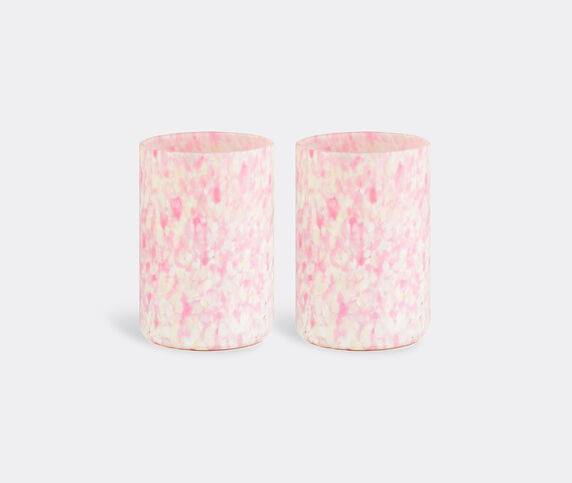 Stories of Italy 'Macchia su Macchia' ivory and pink glasses, set of two