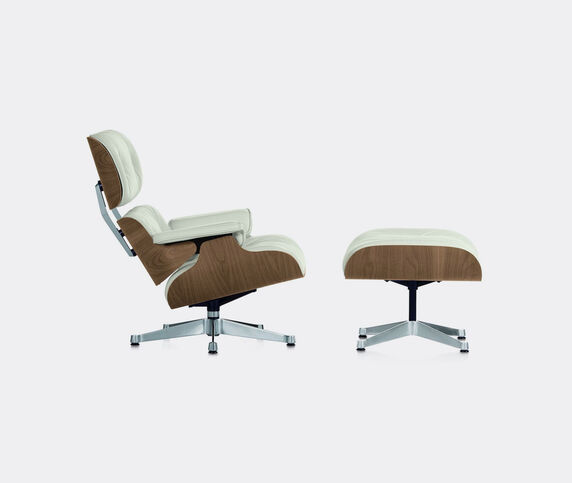 Vitra 'Lounge Chair and Ottoman', walnut and white