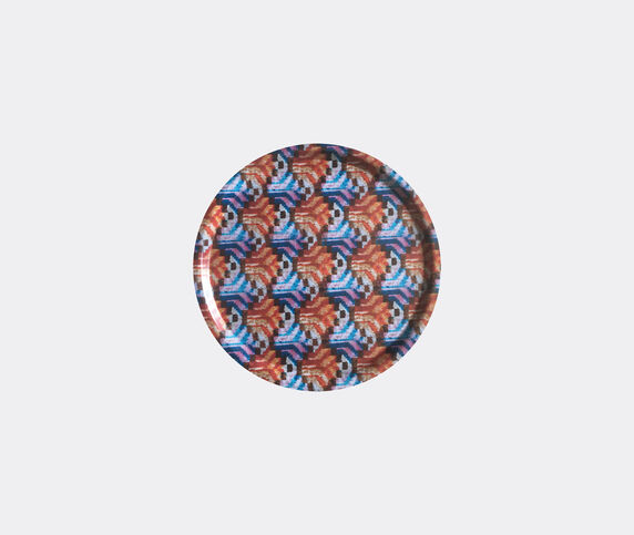 Les-Ottomans 'Ikat' wooden tray, orange and blue
