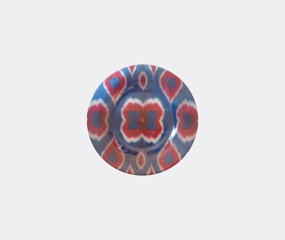 Les-Ottomans 'Ikat' glass plate, red and blue
