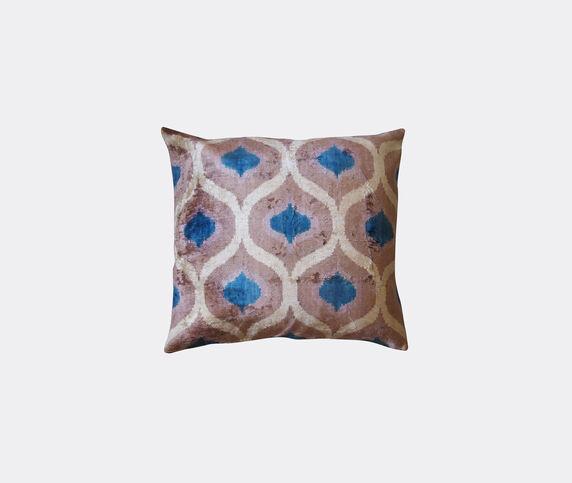 Les-Ottomans Silk velvet cushion, taupe, beige and blue