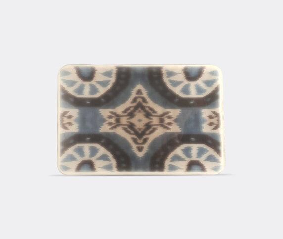 Les-Ottomans 'Ikat' glass tray, blue
