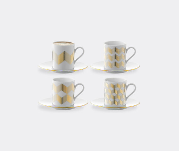 LSA International 'Chevron' coffee cup and saucer, set of four