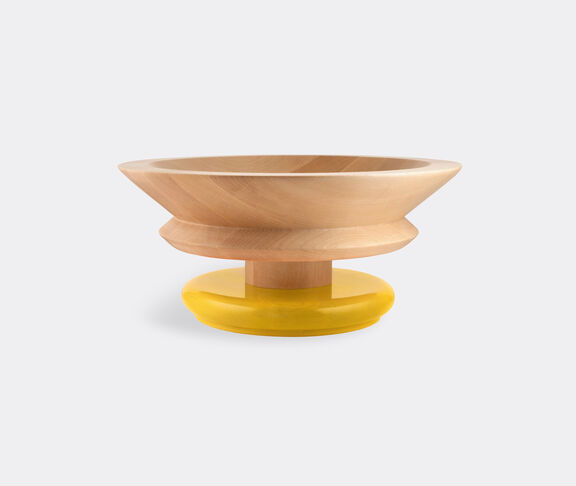 Alessi Centrepiece In Limewood. Coloured Foot, Yellow. Alessi 100 Values Collection. 1