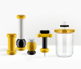 Alessi Glass Jar With Hermetic Lid In Beech-Wood, Yellow, Black And White. Alessi 100 Values Collection. 3