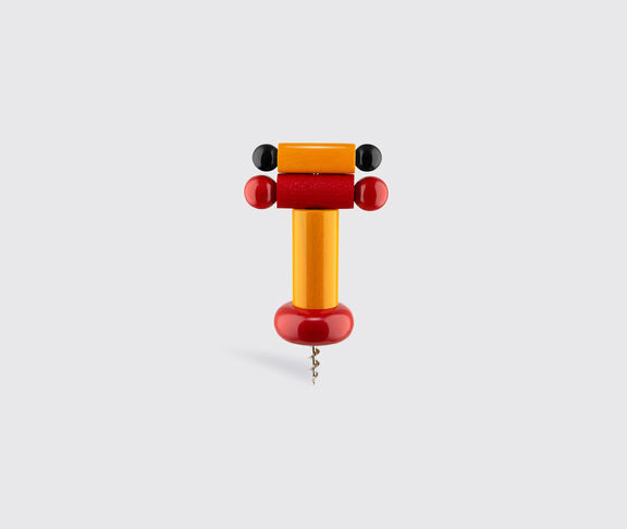 Alessi Corkscrew In Beech-Wood, Yellow, Red And Black. Alessi 100 Values Collection. 2
