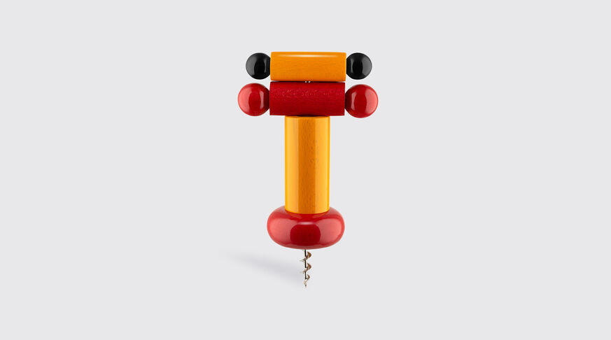Alessi Corkscrew In Beech-Wood, Yellow, Red And Black. Alessi 100 Values Collection. 1