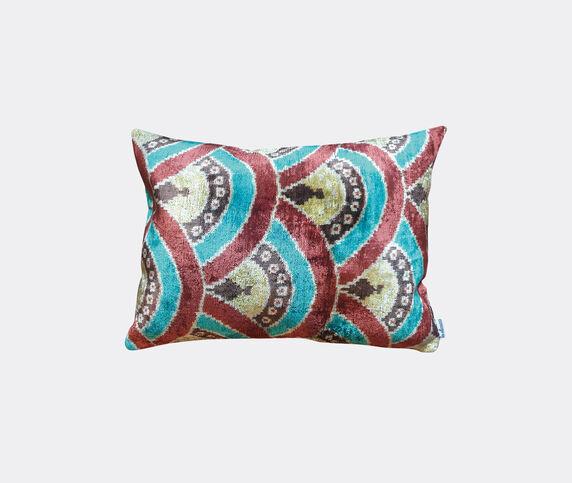 Les-Ottomans Silk velvet cushion, pink, white and green
