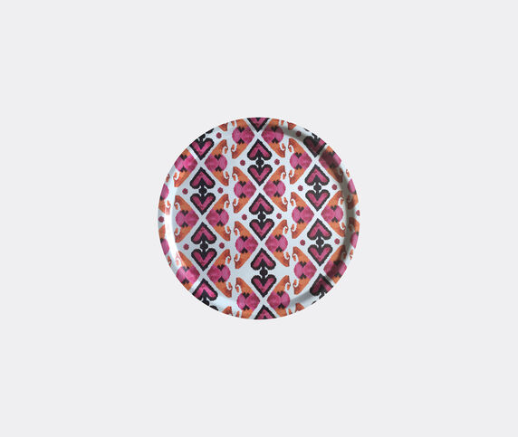 Les-Ottomans 'Ikat' wooden tray, pink and orange
