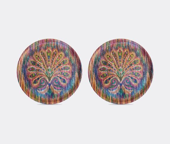 Les-Ottomans 'Peacock' circular tray, set of two