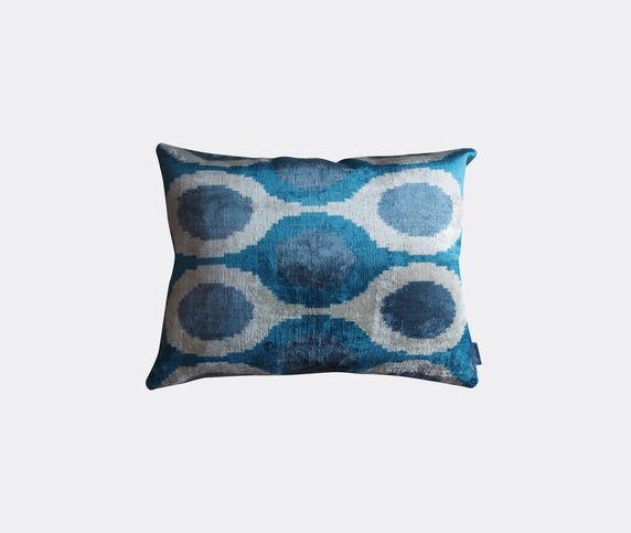 Les-Ottomans Silk velvet cushion, white and blue