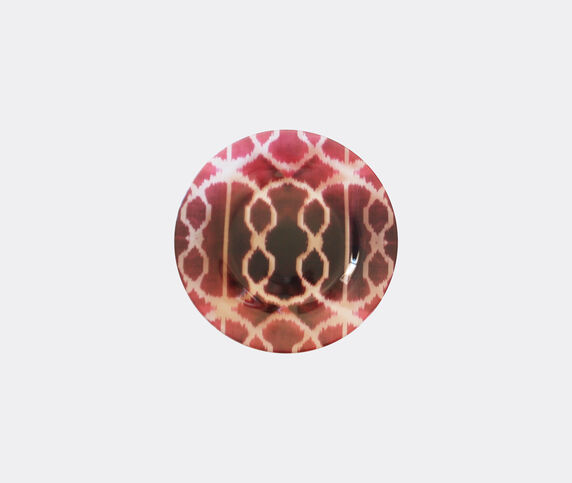 Les-Ottomans 'Ikat' glass plate, red and white