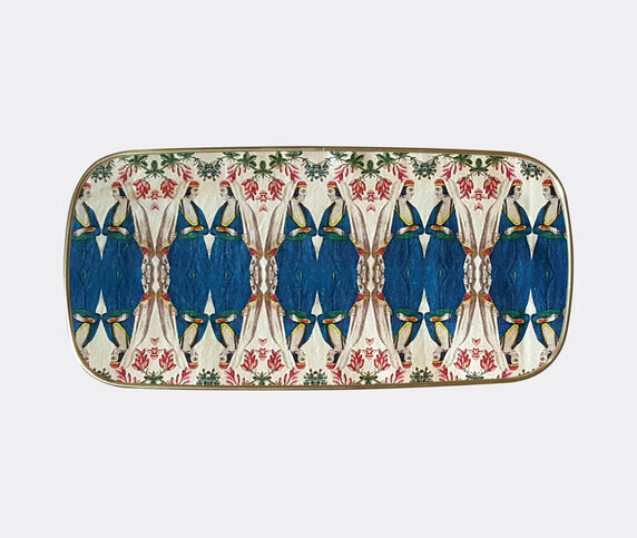 Les-Ottomans Patch NYC rectangular tray, blue and white