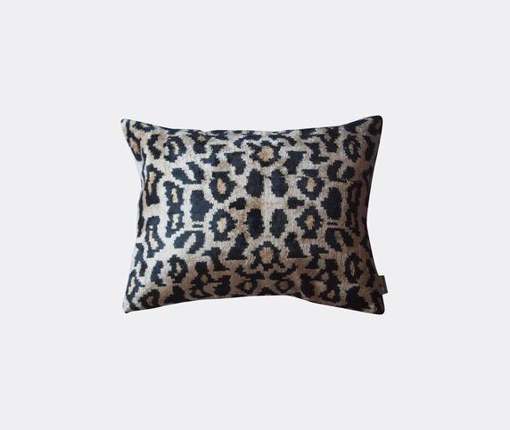 Les-Ottomans Silk velvet cushion, black and brown