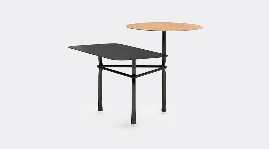 Viccarbe Tiers Low Table A Black Structure, Rectangular Top In Black, Circular Top In Matt Oak 1