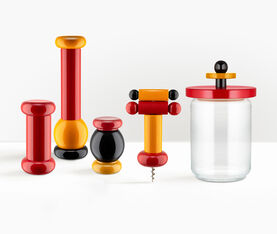 Alessi Salt, Pepper And Spice Grinder In Beech-Wood, Black, Yellow And Red. Alessi 100 Values Collection. 2