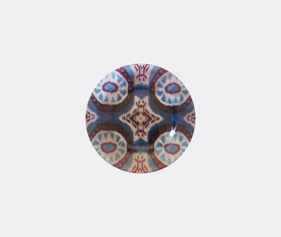 Les-Ottomans 'Ikat' glass plate, red, white and blue