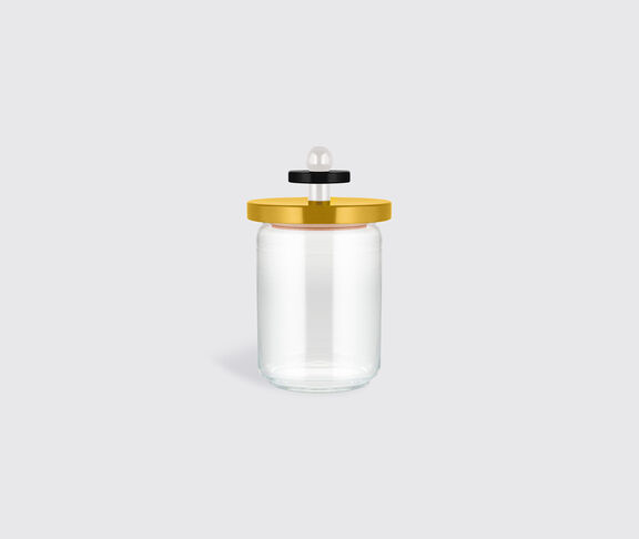 Alessi Glass Jar With Hermetic Lid In Beech-Wood, Yellow, Black And White. Alessi 100 Values Collection. 2