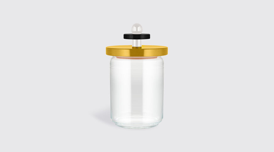 Alessi Glass Jar With Hermetic Lid In Beech-Wood, Yellow, Black And White. Alessi 100 Values Collection. 1