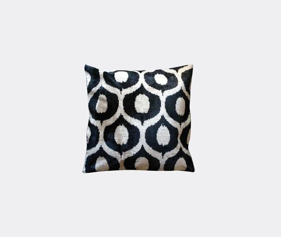 Les-Ottomans Silk velvet cushion, black and white