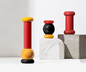 Alessi Salt, Pepper And Spice Grinder In Beech-Wood, Black, Yellow And Red. Alessi 100 Values Collection. 3